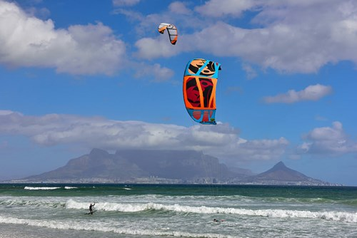 Kite surfing with a view of Table Mountain